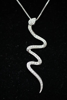 $598 • Buy 18k White Gold ~.40 Cttw Diamond Snake Pendant Box Chain Necklace - ~18 Inch