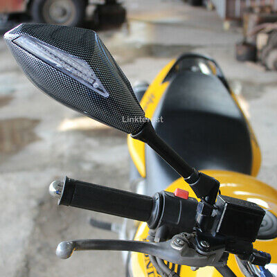 $39.88 • Buy Carbon LED Turn Signals Motorcycle Mirrors 8mm 10mm For Suzuki Boulevard M109R