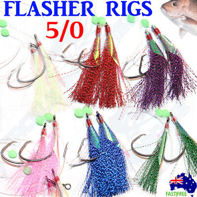 AU14.95 • Buy 6x 5/0 Snapper Snatchers Rigs Flasher Circle Hooks Fishing Rigz Paternoster Lumo