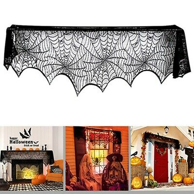 $4.05 • Buy Halloween Spider Web Print Lace Table Flag Ghost Festival Party Fireplace Cloth