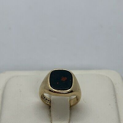 £236.78 • Buy Vintage English 9k Yellow Gold Bloodstone Signet Seal Ring Signed Square Pinky