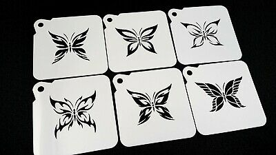 £6.95 • Buy Set Of 6 Different BUTTERFLY Airbrush Paint Stencils Face Body Wall Cake Cupcake