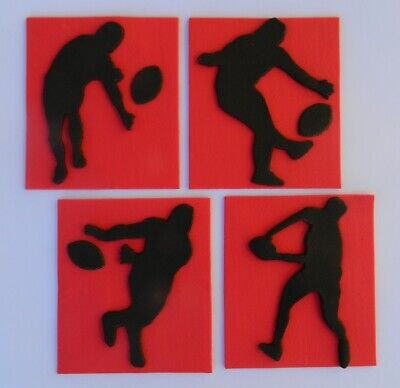 £10.37 • Buy 4 Edible FOOTBALL PLAYERS Cake Topper DECORATIONS FOOTY Rugby Silhouette League