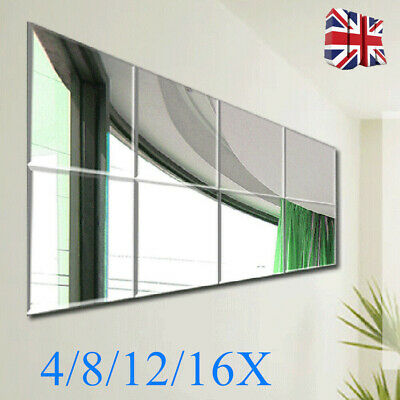 16pcs Acrylic Plastic Anti-Shatter Mirror Sticker Sheet Silver Wall Mirror Tiles • 18.99£