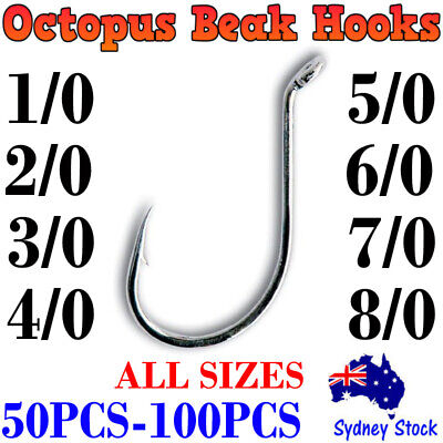 AU6.95 • Buy Bulk 100x Octopus Beak Suicide Fishing Hooks 1/0 2/0 3/0 Chemically Sharpened