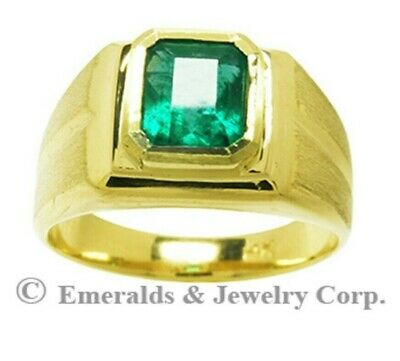 $1450 • Buy Men's Solitaire Emerald Ring Natural Colombian Emerald 14K Yellow Gold