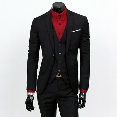 $ CDN91.24 • Buy Men's Tuxedo Suit Slim Fit Formal Business Wedding Dress 3 Piece Leisure Blazers