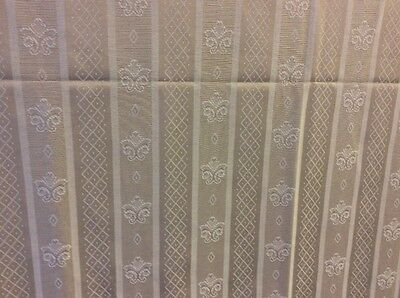 CREAM CURTAIN FABRIC 3.70m Cream Fleur De Lys Stripe Curtain Fabric ** • 29.99£