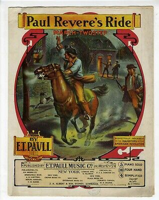 $12 • Buy E T PAULL Sheet Music 1905 Paul Revere's Ride REVOLUTIONARY WAR