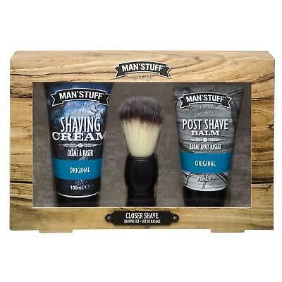 Man'Stuff Closer Shave Close Wet Shaving Brush Set Cream Men's Post Shave Balm • 8.99£