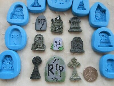 1x Sugarcraft/Fimo MOULD: Halloween TOMB RIP GRAVE STONE (Dolls House Wax Resin) • 3.95£