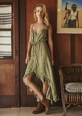 $149.99 • Buy Auguste The Label Gypsy Stars All About Her Dress Khaki Green Byron Boho Size 4
