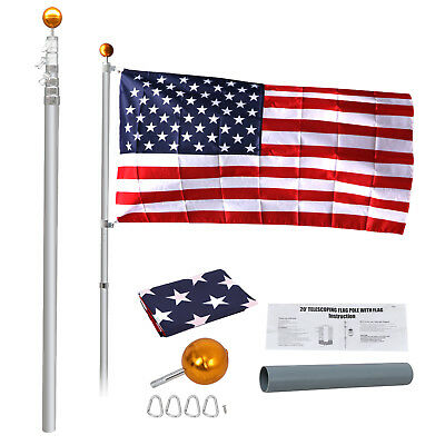 20' Flag Pole Telescopic Flagpole Aluminum Kit U.S Flag Ball 1 Flags Halyard • 43.85$