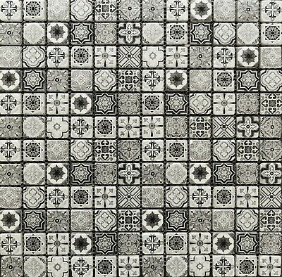 Vintage Indian Victorian African Feature Pattern Black & White Glass Tile Mosaic • 18.50£