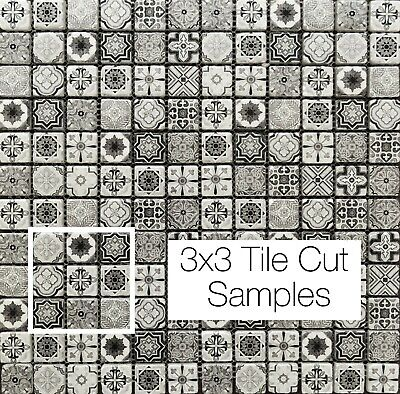 £1.50 • Buy SAMPLE Vintage Victorian African Feature Pattern Black & White Glass Tile Mosaic