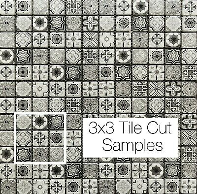 Vintage Victorian African Feature Pattern Black & White Glass Tile Mosaic Sample • 1.50£
