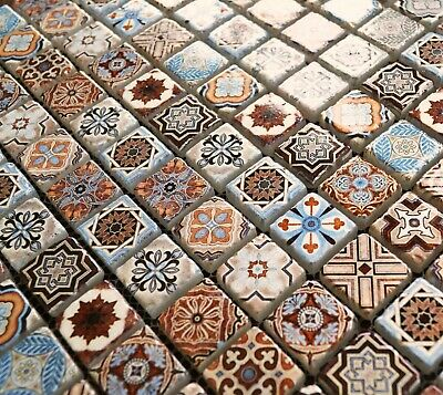 Vintage Victorian African Feature Pattern Blue & Gold Glass Tile Mosaic SAMPLES • 1.75£