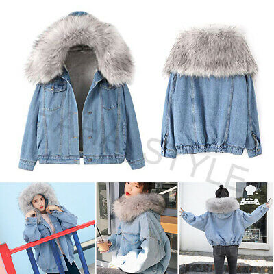 Women Winter Warm Denim Jacket Hooded Faux Fur Collar Thick Trucker Jeans Coat • 28.89£