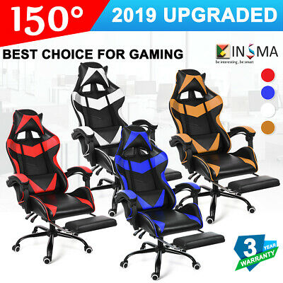 AU128.74 • Buy PU Leather Gaming Chair Office Racing Ergonomic Recliner Seat With Footrest