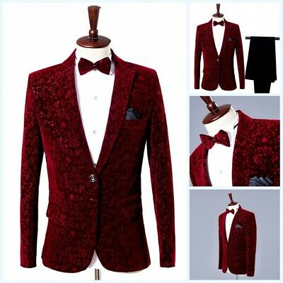 $ CDN122.16 • Buy Men's Formal Dress Suit Costum Velvet Tuxedo Blazer 2Pcs One Button Wedding Prom