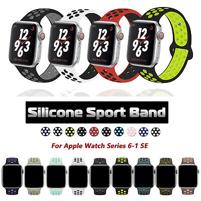 $ CDN13.77 • Buy For Apple Watch Series 6 5 4 3 SE Silicone Sport Band IWatch Strap 38/42/40/44mm