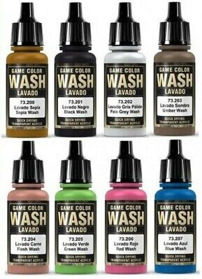 Vallejo Model Washes Paints Choose / Mix17ml Bottles Different Shades Of Wash • 2.45£