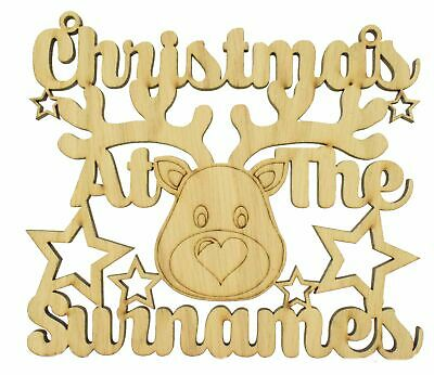 Oak Personalised Christmas At The Sign With Reindeer Head Stars Decoration Gift • 6.99£