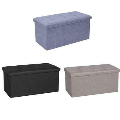 2 Seater Large Folding Storage Ottoman Bench Seat Blanket Toy Button Chest Box • 21.49£
