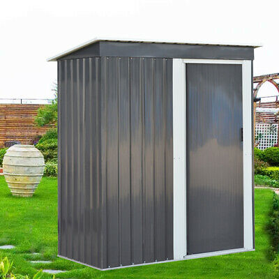 Metal 5ft X 2ft6 Garden Shed Outdoor Tools Storage Pent House With Sliding Door • 155.95£