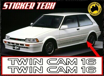 AU85 • Buy 2x TWIN CAM 16 VINYL STICKER DECAL TO SUIT TOYOTA AE82 COROLLA 4AGE TWINCAM AE86