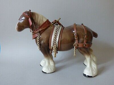 Large Collectable Equine Light Chestnut Shire Mare Horse Tack Harness Free Uk Pp • 21.50£