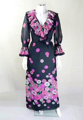 AU222.84 • Buy Original Vintage 1970s Jean Allen Floral Maxi Dress UK Size 6/8 Vintage Clothing