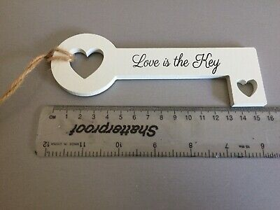 "BNWT Hanging ""Love Is The Key "" Wood Key Shaped Plaque Wedding Valentine Gift • 1.75£"
