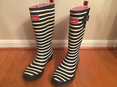 Joules WellyPrint Women's Rain Boots Black & White Stripes Size 10 Preowned Nice • 39.99$