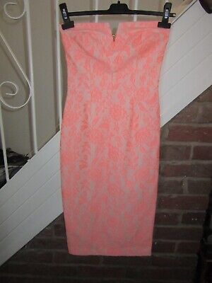 NEW UK 8 River Island Midi Dress Pencil Strapless Coral Pink Lace Design Summer • 9.99£