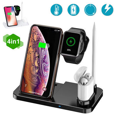 $ CDN23.99 • Buy Qi Wireless 4-in-1 Fast Charger Charging Station For Apple Watch IPhone X Xs 8