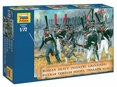 Zvezda Russian Heavy Infantry Grenadiers 1812-1814 Scale: 1:72 - 8020 Militar... • 11.74£