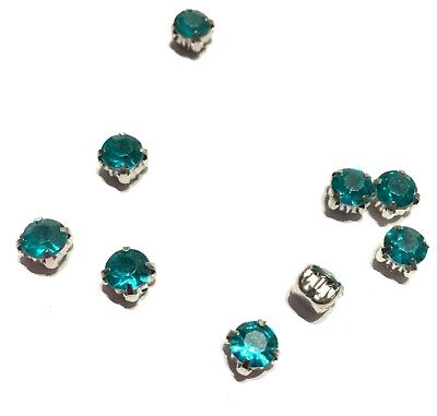 75x Blue Green 6mm Rhinestone Crystal Rose Cup Montees Charm Spacer Beads • 2.99£