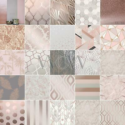 Rose Gold Wallpaper Exotic Flowers Tropical Palm Leaves Geometric Glitter • 15.49£