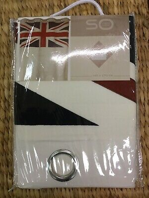 Union Jack Curtain Panel.Embroided,Eyelet Single Curtain.140cm X270cm • 29.95£
