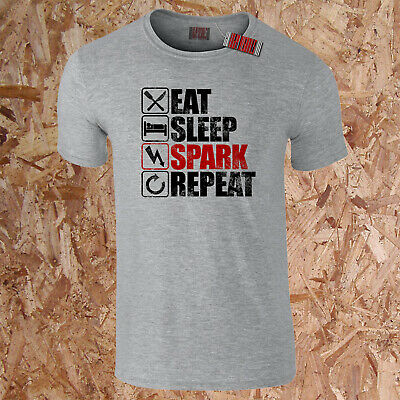 £9.95 • Buy EAT SLEEP SPARK REPEAT T-Shirt Funny Electrics Electrician Sparks Dad Gift S-5XL