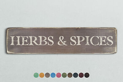 £13.95 • Buy HERBS & SPICES Vintage Style Wooden Sign. Shabby Chic Retro Home Gift