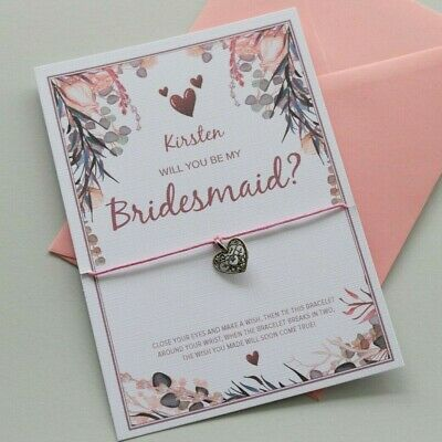 £2.55 • Buy PERSONALISED Will You Be My BRIDESMAID Proposal Card   Bracelet Gift Flower Girl