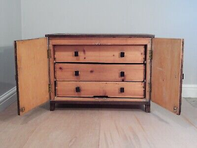 Large Vintage Collectors Specimen Chest Cabinet - Carpenters Engineers Toolbox • 85£
