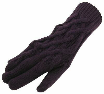 £6.49 • Buy Ladies Gloves Winter Autumn Warm Knitted Soft Purple Cable Rope Knit Luxury NEW