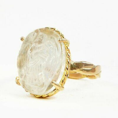 $1440 • Buy Moonstone Angel Carving 6.49ct Handcrafted 14k Gold Ring