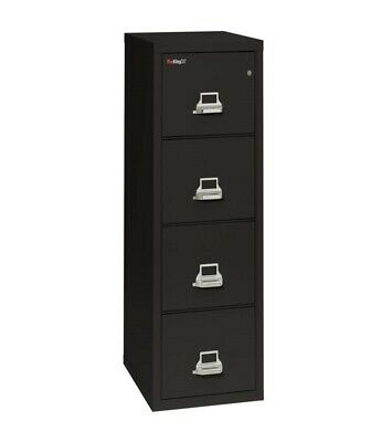 FireKing 25 Fire Proof File Cabinet W/ Key Black 4 Dr Ltr Used $995 ($2400 New)! • 995$