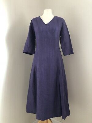 BRORA Dress Size 12 100% Linen Purple 3/4 Sleeve V Neck Textured Holiday  • 40£