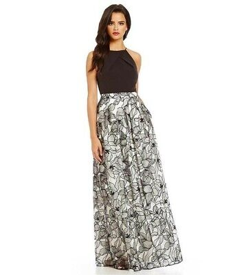 $70 • Buy Aidan Mattox Halter Embroidered Long Dress With Pockets - Size 6