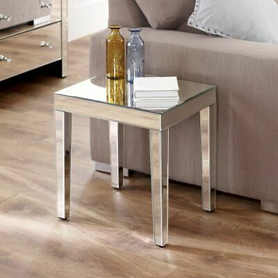 £89 • Buy Venetian Mirrored Medium Side Table - Glass Lamp Living Coffee Occasional VEN99